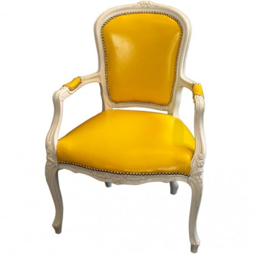 FRENCH LOUIS XV STYLE ARMCHAIR IN YELLOW PATENT LEATHER LA Interiors Ebay