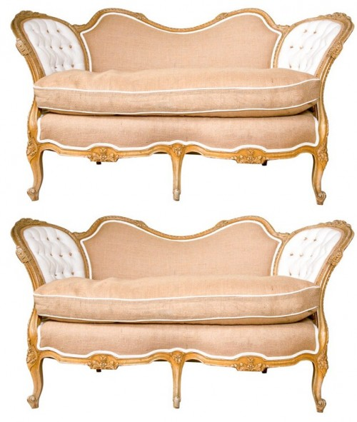 Pair of Carved Louis XV Style Canope-Settees Greenwich Living