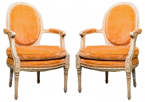 Pair of French Painted Louis XIV Style Armchairs by Jansen Greenwich Living