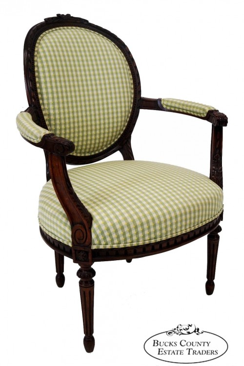 Quality French Louis XVI Style Carved Arm Chair