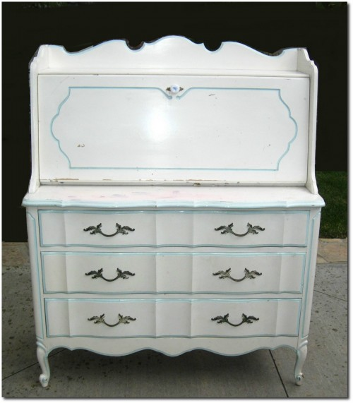 Vintage French Provincial DIXIE Style Drop Leaf White DESK Dove Tail DRESSER From Ebay