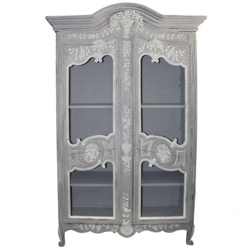 19th C. Louis XV Style Painted Armoire- Melissa Levinson Antiques
