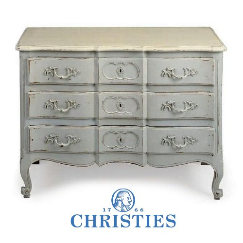 A FRENCH CARVED AND GREY PAINTED COMMODE