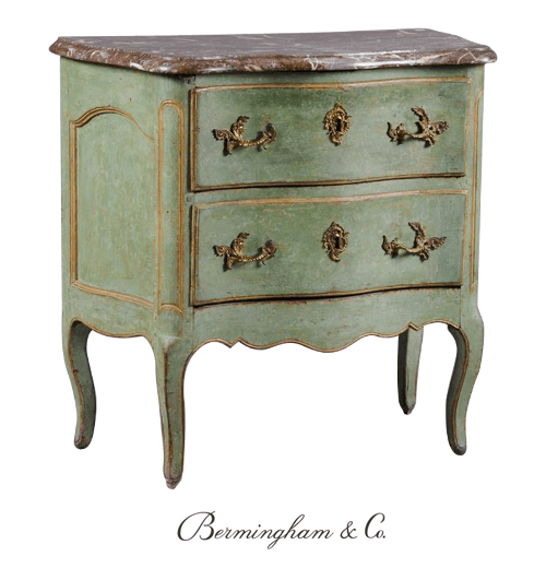 A Fine Louis XV Painted and Parcel-Gilt Commode
