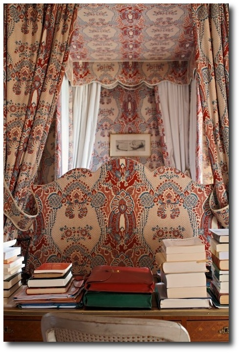 La Valette Rouge Bleu cotton print by Braquenie - Pierre Frey. From the 18th century Chateau de Montgeoffroy in the French Loire Valley.