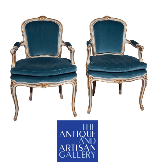 Pair of Gilded and Painted Louis XV Style Chairs