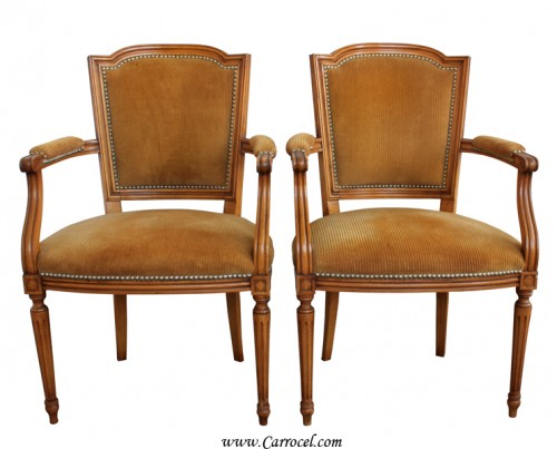 Pair of Regency Parlor Walnut Accent Arm Chairs From Carrocel Restorations EBAY