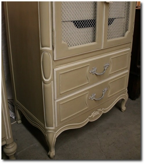 Reloved Rubbish Country Gray and Old White Armoire