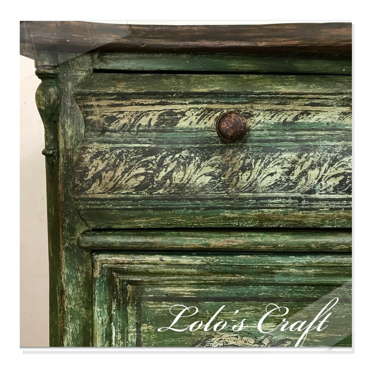 Karolina Lolo's Distressed Green Painted Stamped Chest