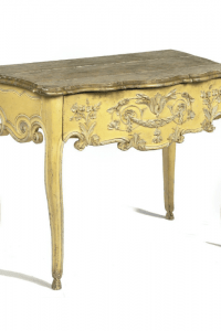 French Provincial Yellow Painted Marbleized Console Table – Christies Auction $4,798