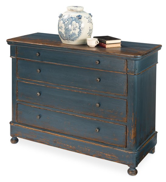 Old Pine Antq French Dark Blue;Iron Cabinet