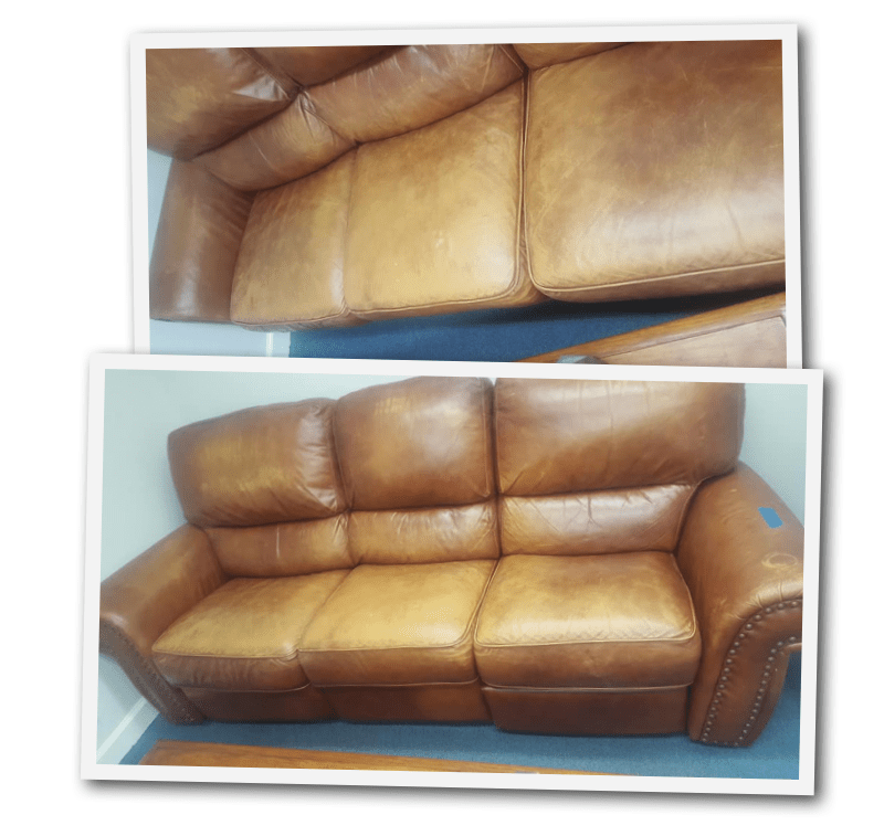 Kimberly Satorre Before And After Real Leather Couch Refinish Free For Removing First Photos Were Shots The Last Layers Of Dye